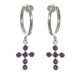 LA CROIX CERCEAU Silver Plated Amethyst Purple Crystal Clip On Earrings