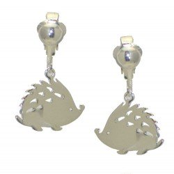 TAZIA Silver Plated Hedgehog Clip On Earrings by VIZ