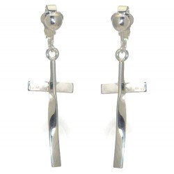 CLEOPHAS Silver Plated Twisted Cross Clip On Earrings by VIZ