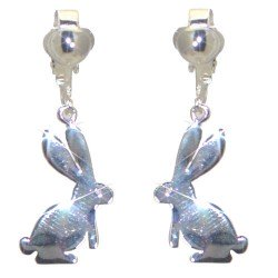 COTTONTAIL Silver Plated Rabbit Clip On Earrings by VIZ