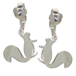 TUFTY Silver Plated Squirrel Clip On Earrings by VIZ