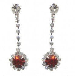 KIRILEE Silver tone Ruby Crystal Clip On Earrings