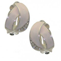 DELAINE Silver tone Pink Crystal Clip On Earrings