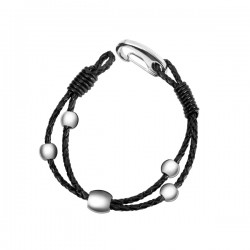 DYLAN Stainless Steel And Black Leather Bracelet