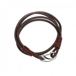AXEL Stainless Steel And Black Leather Bracelet