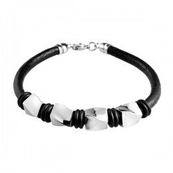 BRUCE Stainless Steel And Black Leather Bracelet