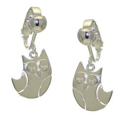 BELLINI Silver Plated Owl Drop Clip On Earrings by VIZ