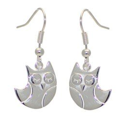 BELLINI Silver Plated Owl Drop Hook Earrings by VIZ