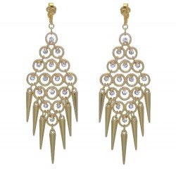 CADRIAN Gold plated Crystal Drop Hoops Clip On Earrings