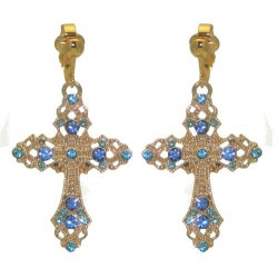 FIORENZE Gold plated Light Sapphire Crystal Cross Clip On Earrings