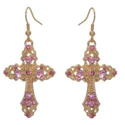 FIORENZE Gold tone Pink Crystal Cross Hook Earrings