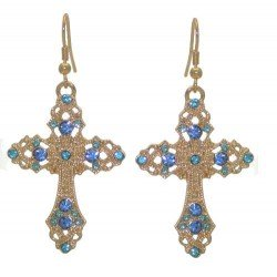 FIORENZE Gold tone Light Sapphire Crystal Cross Hook Earrings