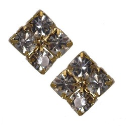 Emmeline 8mm Gold tone Cystal Post Earrings