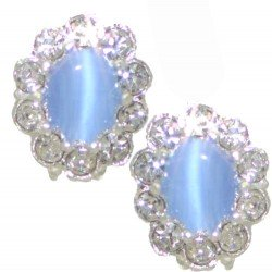 ADORLEE Silver tone Light Sapphire Blue Crystal Clip On Earrings