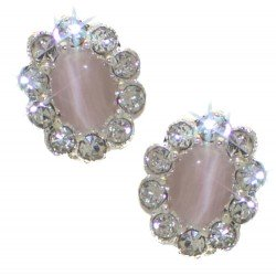 ADORLEE Silver tone Light Pink Crystal Clip On Earrings
