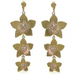 HADASSAH Gold tone Crystal Flower Cascade Clip On Earrings