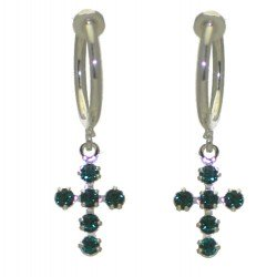 LA CROIX CERCEAU Silver Plated Emerald Green Crystal Clip On Earrings