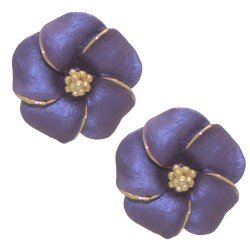 APRONIA Gold Plated Purple Flower Clip On Earrings by Rodney