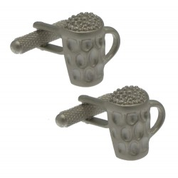 DIMPLE MUG Satin Silver Plated Beer glass Cufflinks