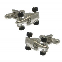 F1 RACING CAR Silver Plated Formula One Racing Car Cufflinks