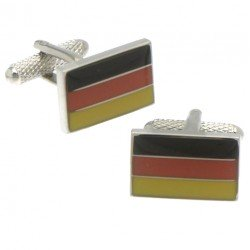 BUNDESFLAGGE Silver Plated German Flag Cufflinks