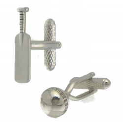 CRICKET BAT and BALL Silver Plated Cufflinks