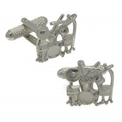 DRUM KIT Rhodium Plated Drum set Cufflinks