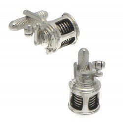 FISHING REEL Silver Plated Fishing Reel Cufflinks