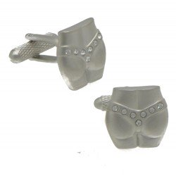 G STRING Silver Plated Crystal G-String Cufflinks