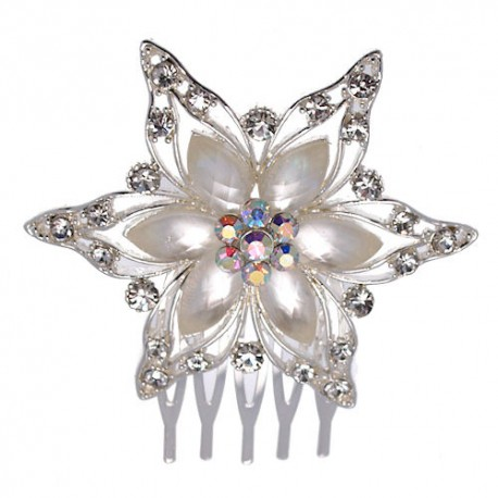 Cecile Silver tone Crystal faux Pearl Hair Comb