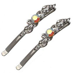 Carro Silver tone Crystal Pair Hair Clips