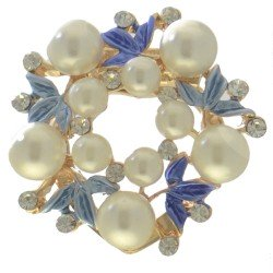ABUTILON Gold tone Blue Crystal faux Pearl Scarf Clip / Brooch