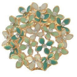 ADENPHORA Gold tone green and White Crystal Scarf Clip / Brooch