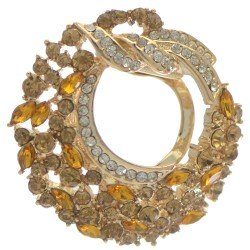 BALBISA Gold tone Amber and Clear Crystal Scarf Clip / Brooch