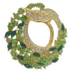 BALBISA Gold tone Green and Clear Crystal Scarf Clip / Brooch
