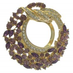 BALBISA Gold tone Purple and Clear Crystal Scarf Clip / Brooch