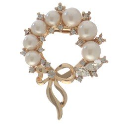 BEAUMONTIA Gold tone Crystal faux Pearl Scarf Clip / Brooch