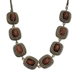 Vilette Antique Gold tone Brown Choker Necklace