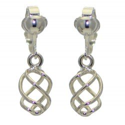 SOFIA 21mm Silver Plated Spiral Twist Clip On Earrings by VIZ