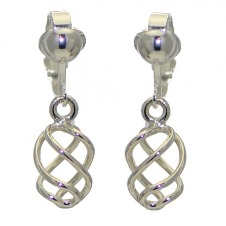 SOFIA Silver Plated Spiral Twist Clip On Earrings by VIZ