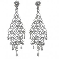 LEVANE Antique Silver tone Diamond Trellis Hematite Crystal Clip On Earrings