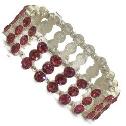 AMONDI Silver tone Pink Crystal Elasticated Bracelet