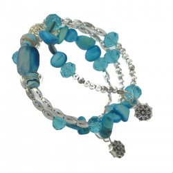 BESSIE Silver tone Turquoise Memory Wire Bracelet