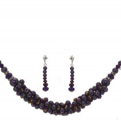 DILLIAN Silver tone Purple Necklace Set Clip On Earrings