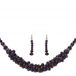 DILLIAN Silver tone Purple Necklace Set Hook Earrings
