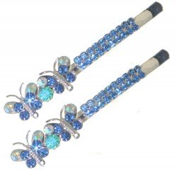 HATHOR Silver Turquoise Crystal Butterfly Pair Hair Clips