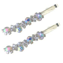 BASTET Pair Silver AB Crystal Hair Clips