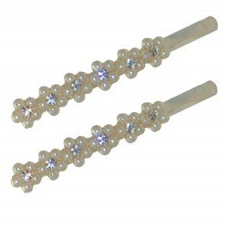 CARAWAY Pair Silver tone faux Pearl & Crystal Flower Hair Clips