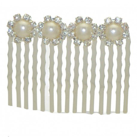DIANTHUS Silver tone Crystal faux Pearl Hair Comb