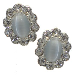 ADORLEE Silver tone Light Grey Crystal Clip On Earrings